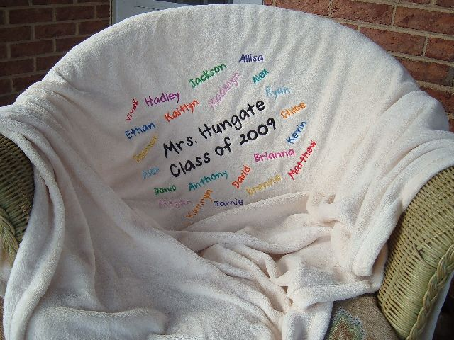 Cozy Embroidered Class Blanket-embroidered blanket, microfiber blanket, blanket, teacher gift