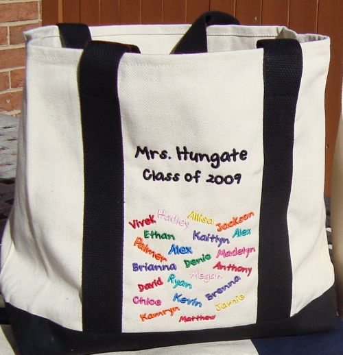 "Teacher ""Class of""  Tote-personalized, embroidered, embroidery, canvas tote, teacher gift, teacher tote, two-tone shopping tote"