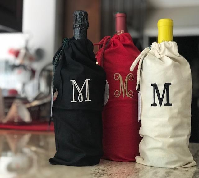 Monogrammed Wine Bag